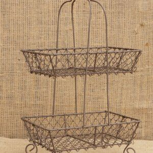 Two Tier Wire Basket French Country Caddy